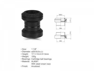 Dviračio vairo kolonėlė Author ACO - HS04 (1 1/8 ; D: 28,6/34/30mm) (juoda)