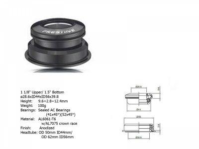Dviračio vairo kolonėlė Author ACO-F13H Internal (1 1/8 / 1,5; D: 39,8/44/56 mm) (juoda)